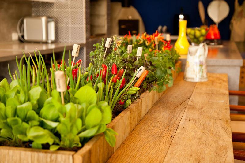horta horizontal em área gourmet